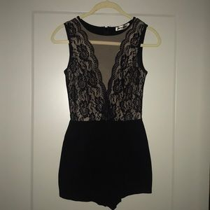 Black and lace romper